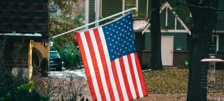 American flag in the yard